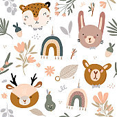 Cute kids scandinavian seamless pattern with funny animals, kids mobile toys, beanbag, leaves, flowers.