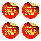 Merry Christmas sale stickers set 50%, 55%, 60%, 70% off