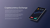 Website header mockup for cryptocurrency exchange with realistic isometric smartphone with stock chart and bitcoin icon on screen. Vector EPS10.