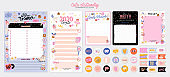 Collection of weekly or daily planner, note paper, to do list, stickers templates decorated by cute love illustrations and inspirational quote