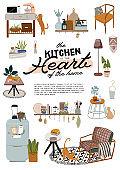 Stylish Scandinavian kitchen interior - stove, table, kitchen utensils, fridge, home decorations.
