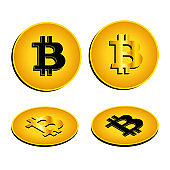 Gold coin Bitcoin with isometric projection. Black sign and golden. Vector EPS10.