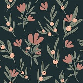 Romantic floral seamless pattern with hand drawn flowers and leaves.