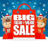 Big New Year sale poster, banner with kids in christmas costume bull