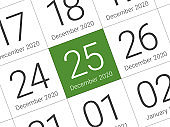 Close up of Christmas day 2021 on diary calendar.