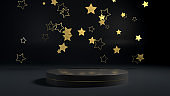 3d render of golden stars flying over golden round stage, pedestal or podium in black interior. Perfect illustration for placing your product of object on podium. Abstract minimalist backdrop or mockup for celebrations