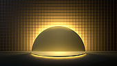 3d render of round golden stage, podium or pedestal in black room lit with golden light. Perfect illustration for placing your product of object on podium. Abstract minimalist backdrop or mockup