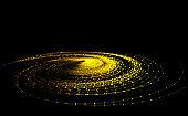 Golden dot line particle vortex, big data, communication technology technology background.