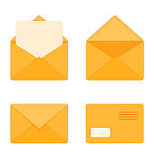 Opened and Closed Envelopes Flat Style Vector Illustration