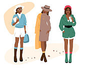 Set of fashion girls on a white background. Vector flat style illustration. Avatar icon