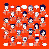 Set of human faces, avatars, people heads different nationality and ages in flat style reading books on a red background.