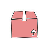 Shopping delivery box vector icon on cartoon style on white isolated background.