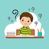 Vector illustration of a cartoon stressed little boy doing hard homework on the desk.