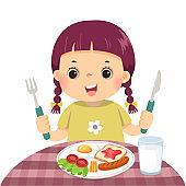 Vector illustration cartoon of a little girl eating breakfast.