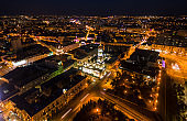 Winter evening aerial view to downtown and river in Kharkiv