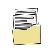 Vector icon of the archive document on black background. Document in the folder. Business report cartoon style on white isolated background.