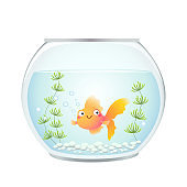 Vector illustration cute cartoon goldfish in a fishbowl.