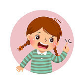 Vector illustration of cartoon girl crying because of bleeding blood from the cut finger wound. Health Problems concept.