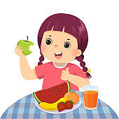 Vector illustration cartoon of a little girl eating green apple and showing thumb up sign.