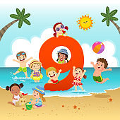 Flashcard for kindergarten and preschool learning to counting number 9 with a number of kids.