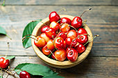 ripe sweet cherries in a plate on a wooden background.