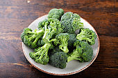 Fresh broccoli in a clay bowl on a wood background backdrop.
