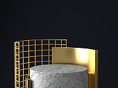 3d rendering of white and gold pedestal isolated on black background, round gold frame, memorial board, cylinder steps, abstract minimal concept, blank space, clean design, luxury minimalist mockup