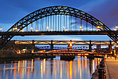 Tyne Bridge at dusk on the River Tyne, Newcastle Upon Tyne, England, UK