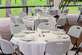 Banquet hall in the restaurant. Table served for festive dinner