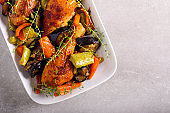 Roast chicken drumsticks with vegetables