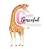 G is for Giraffe, Animal Alphabet for Children.