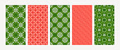 Collection of winter holiday backgrounds in red, green colors. Vector illustration.