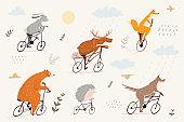 비오는 날 자전거를 타는 동물들