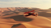 Air plane flying over the desert . This is a 3d render illustration.