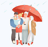 Vector family concept elderly and young parents protection or insurance. Young Family safety and retirement.