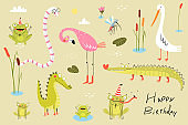Lizard, frogs, alligators, crocodiles and flamingo with duck or cane birds . Swamp and lake doodle animals clipart cartoon collection for kids.