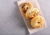Homemade bagels with different topping