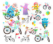 Bicycle Decoration Parade Clipart for Kids Event.