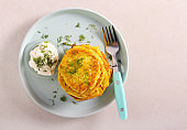 Courgette fritters, served