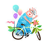 Bicycle Decoration Parade Monster for Kids Event.
