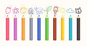 Color pencils for school and education clip art collection.