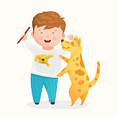 Little boy playing with his dog or training puppy cute animal and kid character vector cartoon.