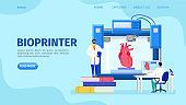 3D bioprinter human organs, vector illustration. Artificial heart implant replicated at innovate medicine engineering equipment.