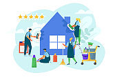 Home cleaning service at house, vector illustration. Flat domestic cleaner, cartoon job hygiene and housekeeping work concept.