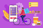 Courier delivery food service, vector illustration. Man character bicycle transportation with box, online order at phone app