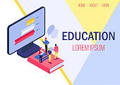 Education online vector illustration banner. Studying people, knowledges from computer. Learning with books and online.