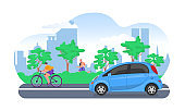 Electric automobile on city road, vector illustration. Street with eco-friendly transport, electric cars and bicycle. Modern tech