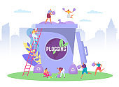 Plogging ecological concept run to clear the world, vector illus