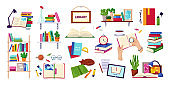 Reading books, education and library concept, set of isolated on white vector illustrations. Encyclopedia, textbook icons, stack of books.