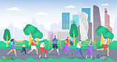 People run in park vector illustration, cartoon flat group sportsman characters running together, active family or friends jogging marathon